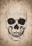 Fond de Halloween avec le crâne sur le vieux journal de vintage Photos libres de droits