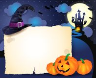Fond de Halloween avec le parchemin Photos libres de droits