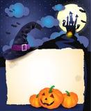 Fond de Halloween avec le parchemin Images libres de droits