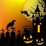 Fond de Halloween avec le potiron, le chat noir et la maison hantée pour la partie de Halloween Illustration de vecteur Photos stock
