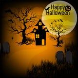Fond de Halloween avec le potiron, la maison hantée et la pleine lune pour la partie de Halloween Illustration de vecteur Photographie stock