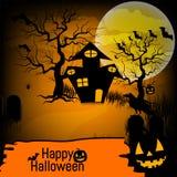 Fond de Halloween avec le potiron, la maison hantée et la pleine lune pour la partie de Halloween Illustration de vecteur Images stock