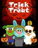 Fond de Halloween avec le tour ou le traitement animal Image stock