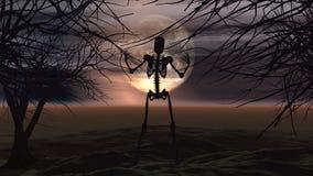 Fond de Halloween avec les arbres fantasmagoriques et le squelette Image libre de droits