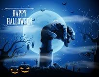 Fond de Halloween avec les zombis et la lune Photographie stock