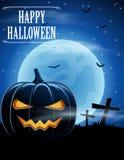 Fond de Halloween avec les zombis et la lune Image libre de droits