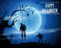 Fond de Halloween avec les zombis et la lune Photos stock