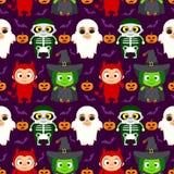Fond de Halloween sans couture avec des enfants dans le costume de Halloween illustration stock