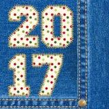 Fond de jeans de la bonne année 2017 Photo libre de droits