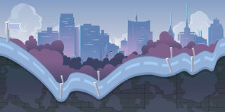 Fond de jeu de ville avec des montagnes et de rétros vieilles voitures, 2d application Illustration de vecteur pour le votre, pro Photos libres de droits