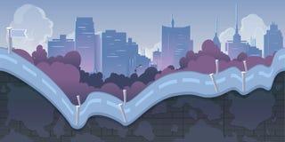 Fond de jeu de ville avec des montagnes et de rétros vieilles voitures, 2d application Illustration pour le votre, projet Image stock