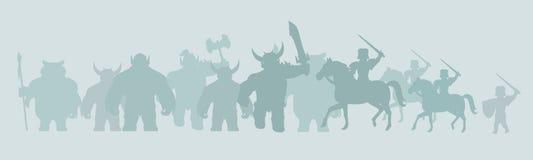 Fond de jeu des guerriers d'imagination Images stock