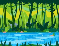 Fond de jeu de rivière de jungle illustration libre de droits