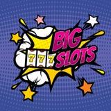 Fond de jeu de vecteur de GRAND casino de FENTES rétro dans le style comique d'art de bruit illustration libre de droits