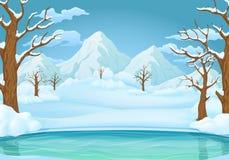 Fond de jour d'hiver Le lac ou la rivière congelé avec la neige a couvert des arbres et des montagnes neigeuses illustration libre de droits