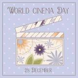 Fond de jour de cinéma du monde avec le vintage de claquette Images stock