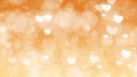Fond de jour de mères d'or avec des particules, des étincelles et des coeurs clips vidéos