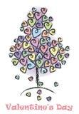 Fond de jour de valentines avec arbre-amour illustration de vecteur