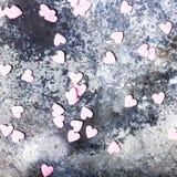 Fond de jour de valentines avec des coeurs de sucre sur le vieux CCB de vintage Image stock