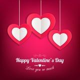 Fond de jour de valentines avec les coeurs de papier Image libre de droits