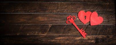 Fond de jour de valentines Clé de mon concept de coeur Carte de cru Image stock