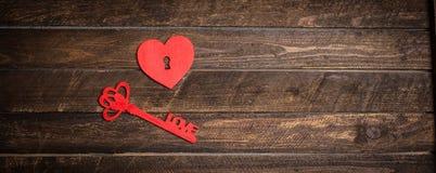 Fond de jour de valentines Clé de mon concept de coeur Carte de cru Photo libre de droits