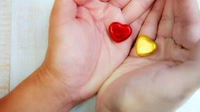 Fond de jour de valentines, concept d'amour, deux coeurs sur des mains Photo stock