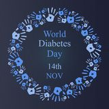 Fond de jour de diabète du monde avec l'icône de main ronde Photos libres de droits