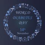 Fond de jour de diabète du monde avec l'icône ronde de médecine Image libre de droits