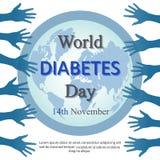 Fond de jour de diabète du monde avec les bras ouverts Photographie stock