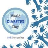 Fond de jour de diabète du monde avec les bras ouverts Image libre de droits