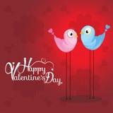 Fond de jour du ` s de Valentine avec l'oiseau de deux amours Image libre de droits
