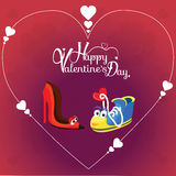 Fond de jour du ` s de Valentine avec le caractère de deux amours Images libres de droits
