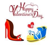 Fond de jour du ` s de Valentine avec le caractère de deux amours Image stock