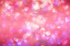 Fond de jour du ` s de Valentine bokeh brouillé avec le style de bokeh de coeurs copiez l'espace pour ajouter votre texte ou l'em Images stock