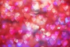 Fond de jour du ` s de Valentine bokeh brouillé avec le style de bokeh de coeurs copiez l'espace pour ajouter votre texte ou l'em Photo stock