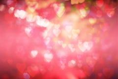 Fond de jour du ` s de Valentine bokeh brouillé avec le style de bokeh de coeurs copiez l'espace pour ajouter votre texte ou l'em Photo libre de droits