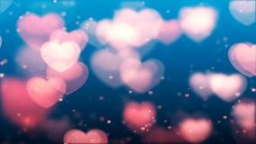 Fond de jour du ` s de Valentine, coeurs abstraits volants et particules illustration libre de droits