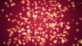 Fond de jour du ` s de Valentine, coeurs abstraits volants et particules illustration de vecteur