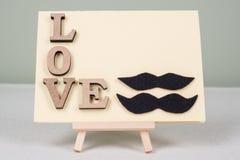 Fond de jour du ` s de Valentine avec des lettres d'amour, carte de voeux pour un homme-homme de couples Images stock