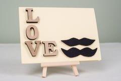 Fond de jour du ` s de Valentine avec des lettres d'amour, carte de voeux pour un homme-homme de couples Photo libre de droits