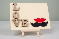 Fond de jour du ` s de Valentine avec des lettres d'amour, carte de voeux pour une homme-femme de couples Image libre de droits