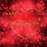 Fond de jour du ` s de Valentine avec le coeur et le lettrage d'or Photos stock