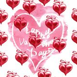 Fond de jour du ` s de Valentine d'aquarelle Deux coeurs Photos libres de droits