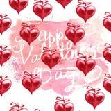 Fond de jour du ` s de Valentine d'aquarelle Deux coeurs Image stock