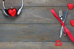 Fond de jour et de musique de valentines ensemble et amour de dîner Images libres de droits