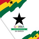 Fond de Jour de la Déclaration d'Indépendance du Ghana dans le thème de couleur de drapeau national Illustration de vecteur illustration de vecteur