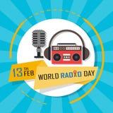 Fond de jour par radio du monde le 13 février Images libres de droits