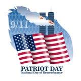Fond de jour de patriote avec le drapeau des USA Calibre pour le jour national du service et du souvenir Illustration de vecteur Images libres de droits