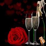 Fond de jour de valentines avec le champagne et les roses Photographie stock
